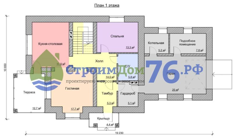 План 1 этажа - Проект СД-54