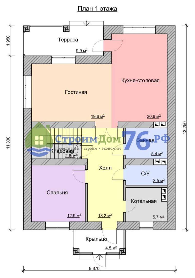 План 1 этажа - Проект СД-56