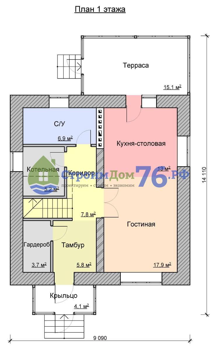 План 1 этажа - Проект СД-62