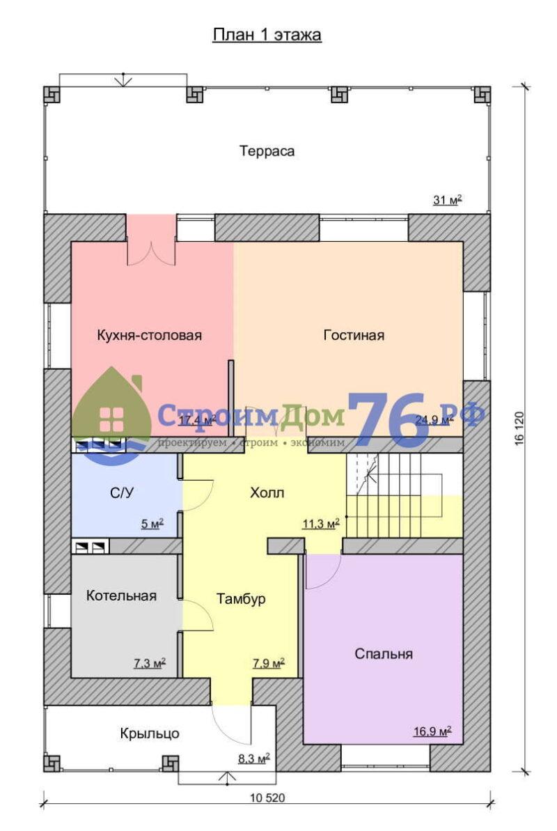 План 1 этажа - Проект СД-66