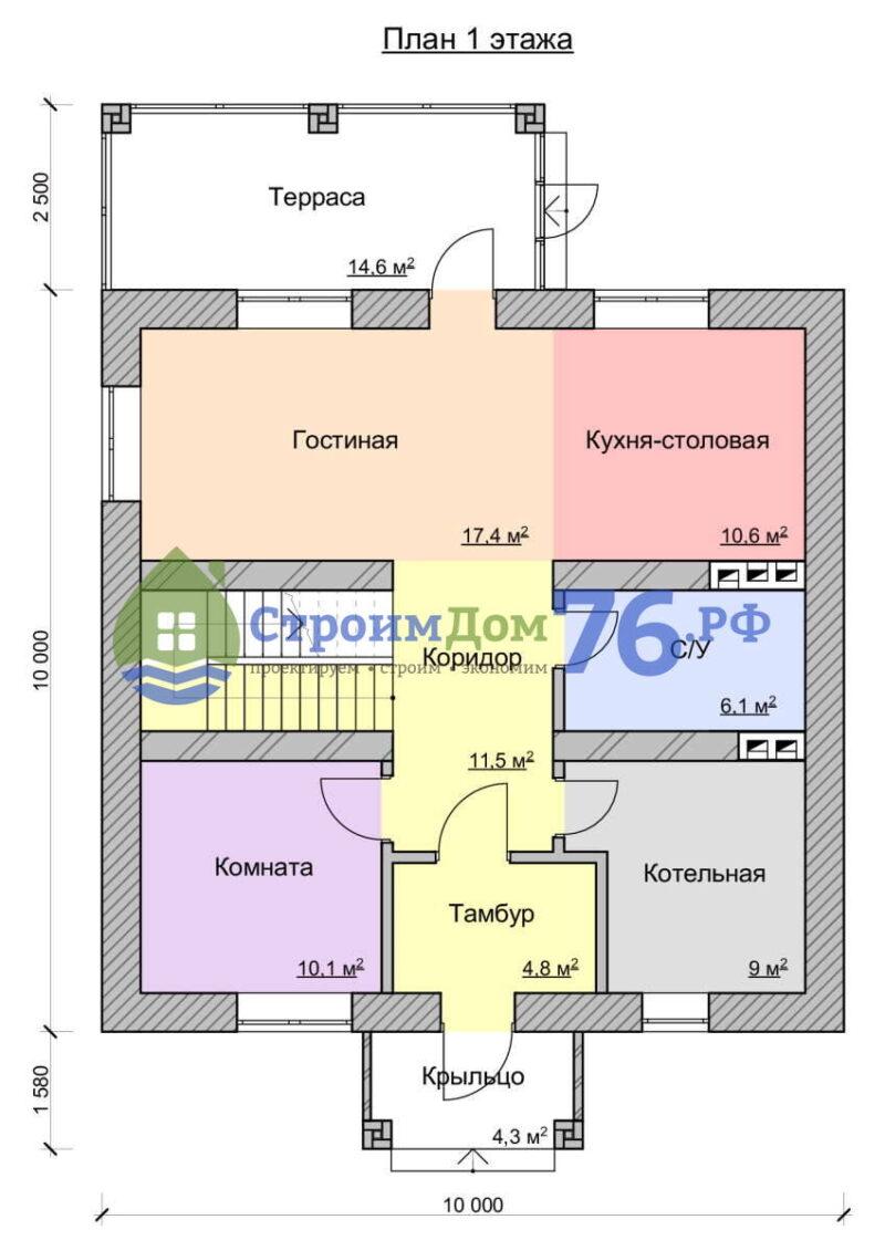 План 1 этажа - Проект СД-68
