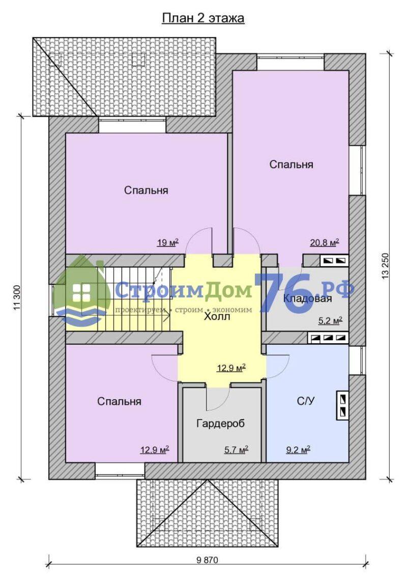 План 2 этажа - Проект СД-56