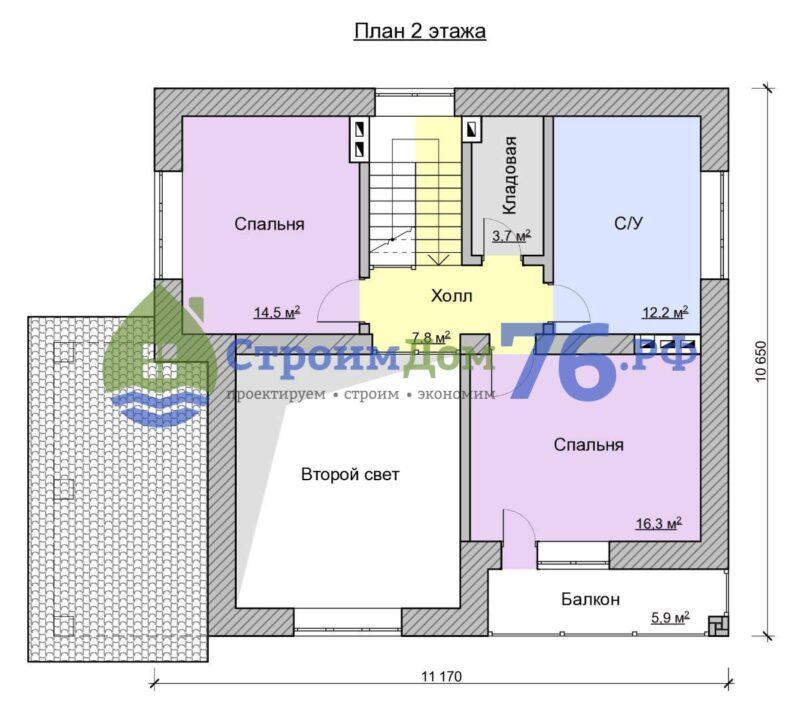 План 2 этажа - Проект СД-57