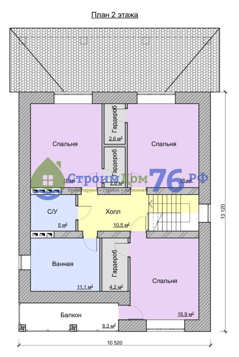 План 2 этажа - Проект СД-66