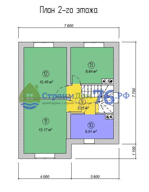 Проект каменного дома из газобетона СД-74 - 2 этаж