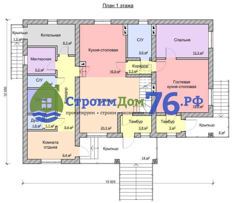 Проект каменного дома СД-76 - План 1 этажа