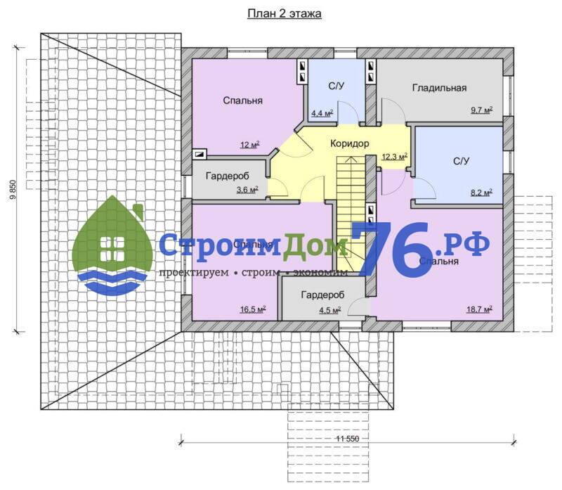 Проект каменного дома СД-76 - План 2 этажа