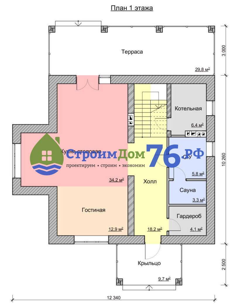 Проект СД-77 - План 1 этажа