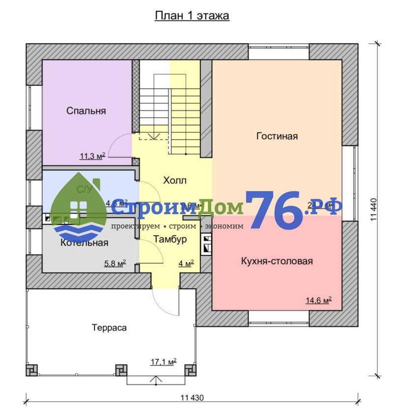 Проект СД-80 - План 1 этажа