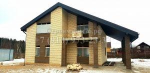Дом 106 м2 + веранда 27 м2 из газобетонных блоков облицованный керамическим кирпичом (Теплый контур)